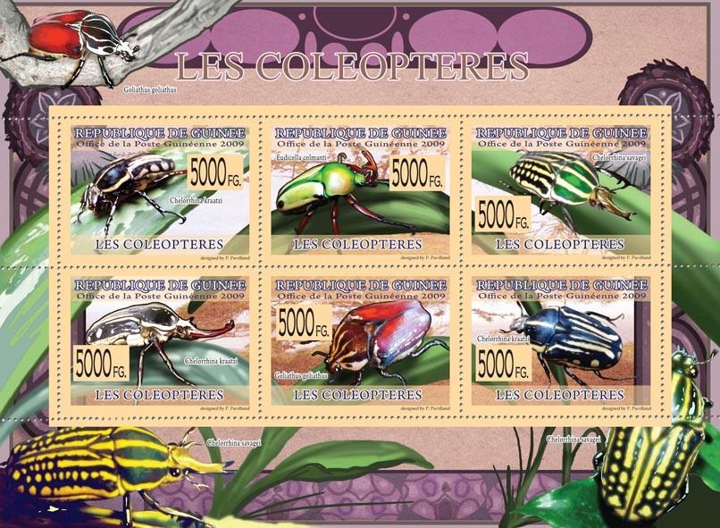 Beetles, Chelorrhina kraatzi, Eudicella colmanti, Goliathus goliathus, etc - Issue of Guinée postage stamps