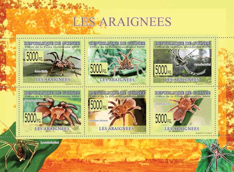 Spiders, Damon tibialis, Aranoethra butleri, Phoneyusa celerierae - Issue of Guinée postage stamps