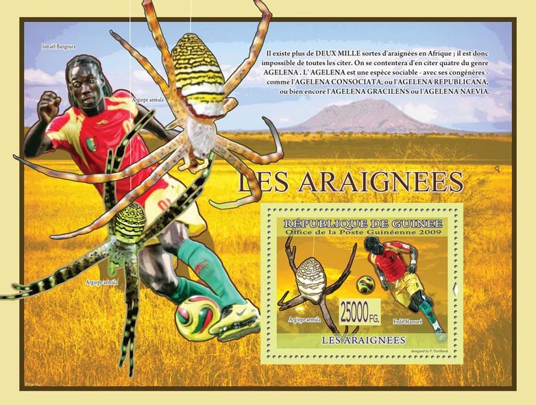 Spiders, Acinonyx jubatus ( Argiope aemula) - Issue of Guinée postage stamps
