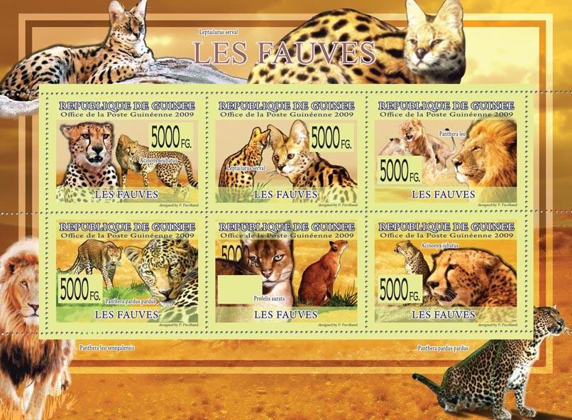 Beasts, Pnthera Leo, Panthera pardus pardus, Profelis aurata, etc - Issue of Guinée postage stamps