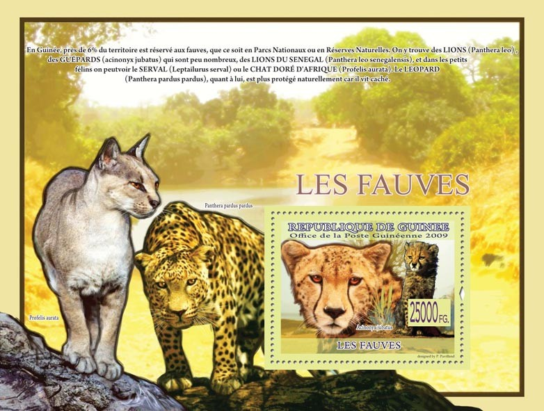 Beasts, Acinonyx jubatus ( Panthera pardus pardus, Profelis aurata ) - Issue of Guinée postage stamps