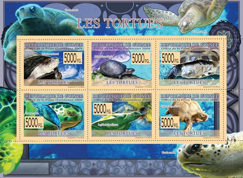 Turtles, Pelusios casteneus, Pelomedusa subrufa, Cretta caretta, etc - Issue of Guinée postage stamps