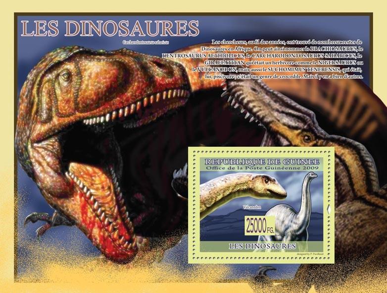 Dinosaurs, Vulcanodon ( Carcharodontozaurus saharicus ) - Issue of Guinée postage stamps