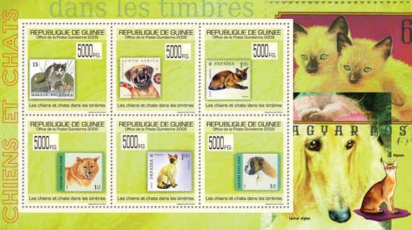 Dogs & Cats on Stamps,Stamps of Belgium, South Africa, Ukraine, Finland. - Issue of Guinée postage stamps