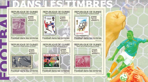 Football on Stamps,Stamps of Chile, England, Monaco, Helvetia - Issue of Guinée postage stamps