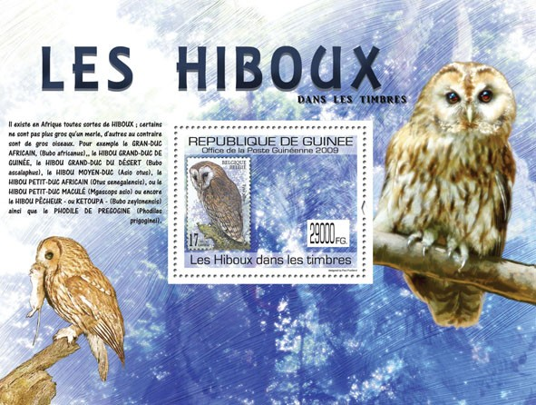 Owls on stamps, Stamp of Belgium ( Tyto Alba ) - Issue of Guinée postage stamps