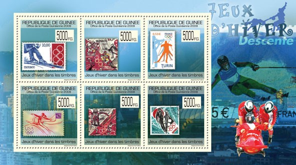 Winter Games on Stamps,Stamps of Monaco, France, USA. - Issue of Guinée postage stamps