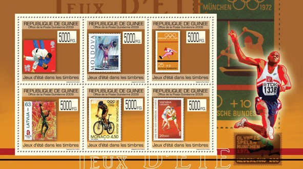 Summer Games on Stamps,Stamps of England, Moldova, Germany, Latvia, Monaco, Ukraine - Issue of Guinée postage stamps