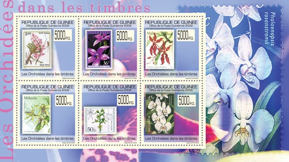 Orchids on Stamps,Stamps of India, Australia, Malaysia, Germany - Issue of Guinée postage stamps