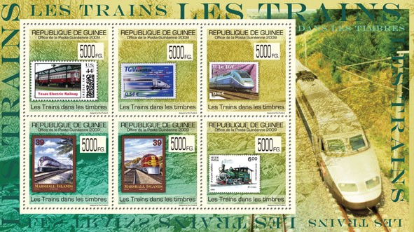 Trains on stamps,Stamps of USA, France, Marshall Islands, India - Issue of Guinée postage stamps