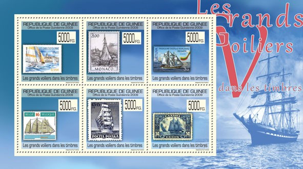 Tall Ships on Stamps, Stamps of France, Monaco, Lithuania, Belgium, Poland, Canada - Issue of Guinée postage stamps