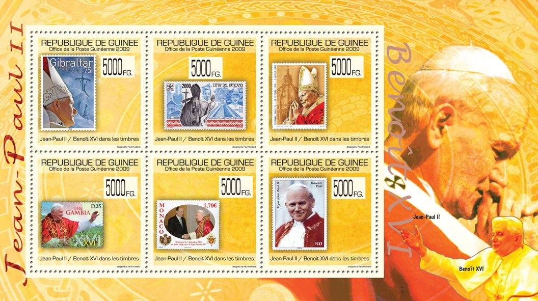 Popes J.Paul II & Benedict XVI on Stamps, Stamps of Gibraltar, Italy, Gambia, Monaco, Hawaii - Issue of Guinée postage stamps