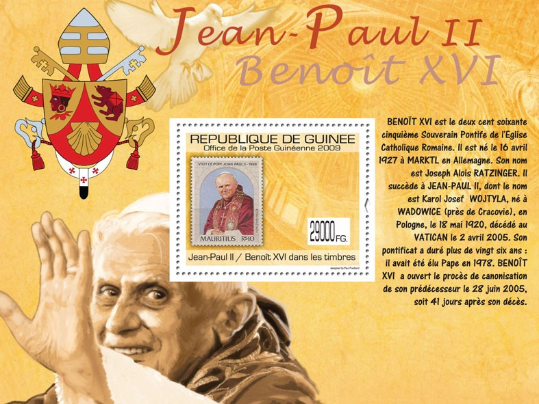 Popes J.Paul II & Benedict XVI on Stamps,  Stamp of Mauritius - Issue of Guinée postage stamps