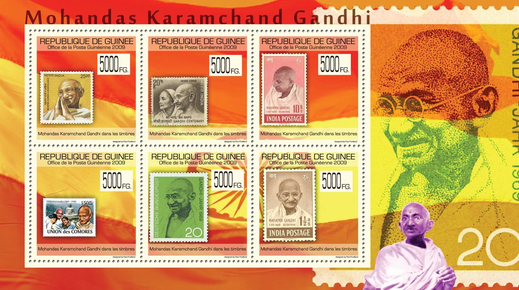 Gandhi on Stamps,  Stamps of India, Union des Comores - Issue of Guinée postage stamps