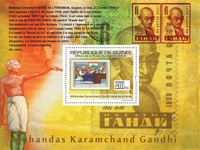 Gandhi on Stamps, Stamp of India - Issue of Guinée postage stamps