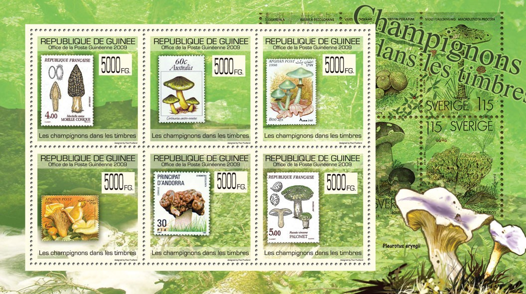 Mushrooms on Stamps, Stamps of France, Australia, Afghanistan, Andorra - Issue of Guinée postage stamps