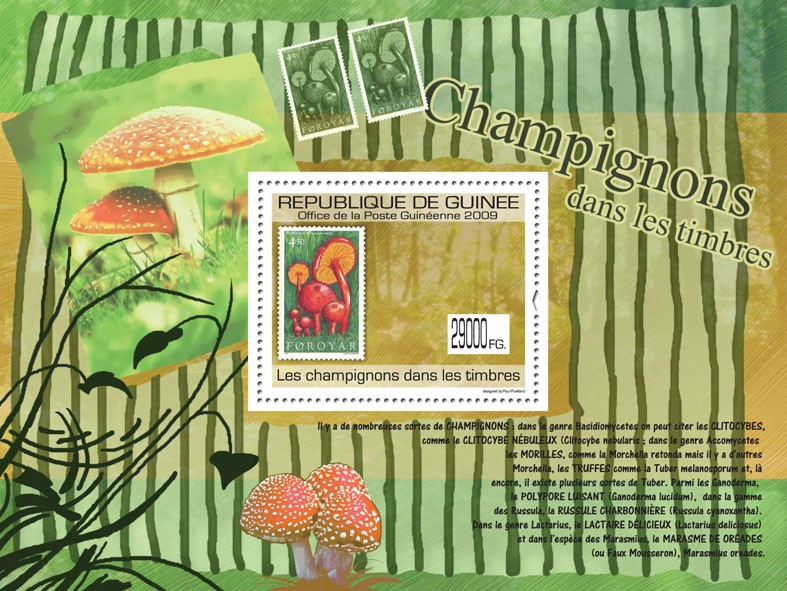 Mushrooms on Stamps, Stamp of Foroyar - Issue of Guinée postage stamps