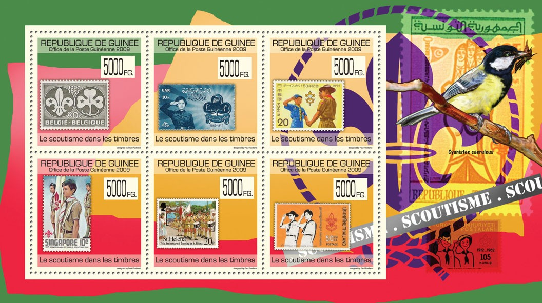 Scouts on Stamps, Stamps of Belgium, UAR, China, St. Helena, Thailand ( Bird ) - Issue of Guinée postage stamps