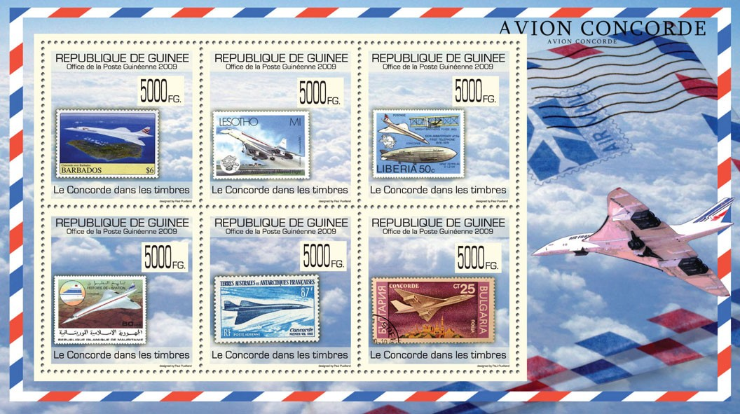 Concorde on Stamps, Stamps of Barbados, Lesotho, Liberia, Mauritania, France, Bulgaria - Issue of Guinée postage stamps