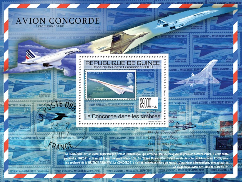 Concorde on stamps, Stamp of England - Issue of Guinée postage stamps