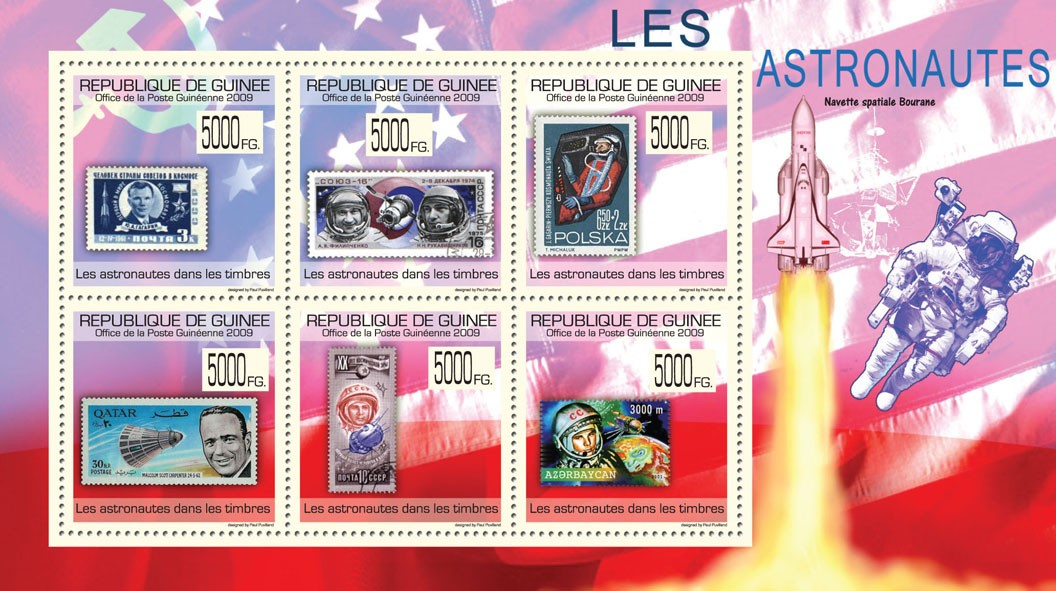 Astronauts on Stamps, Stamps of USSR, Poland, Qatar, Azerbaijan - Issue of Guinée postage stamps