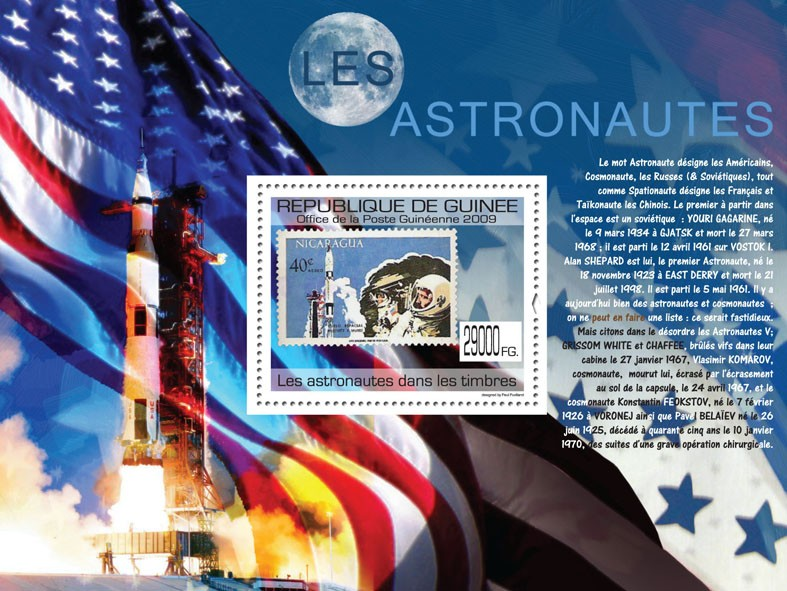 Astronauts on Stamps, Stamp of Nicaragua - Issue of Guinée postage stamps