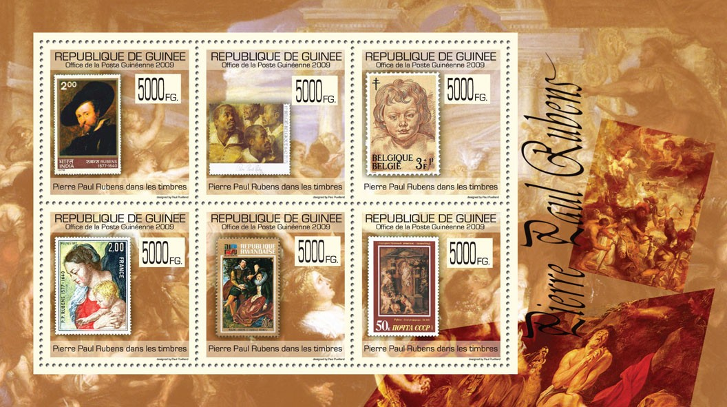 Pierre Paul Rubens on Stamps, Stamps of India, Belgium, France, Rwanda, USSR - Issue of Guinée postage stamps