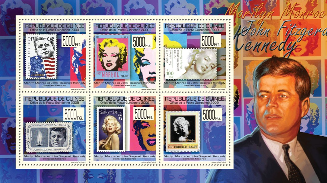 J.F. Kennedy & M. Monroe on Stamps, Stamps of Belgium, Germany, USA, Austria - Issue of Guinée postage stamps