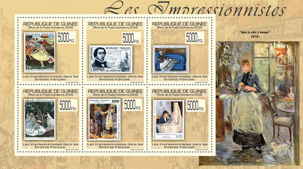 Impressionists on Stamps, Stamps of France - Issue of Guinée postage stamps