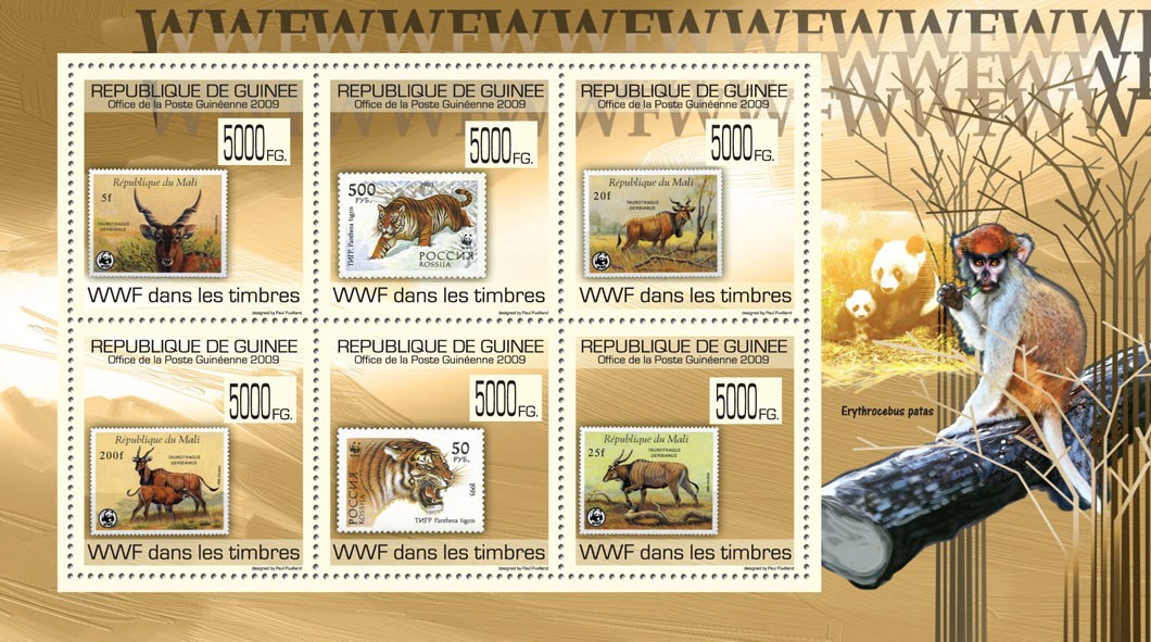WWF on Stamps, Stamps Mali, Russia - Issue of Guinée postage stamps