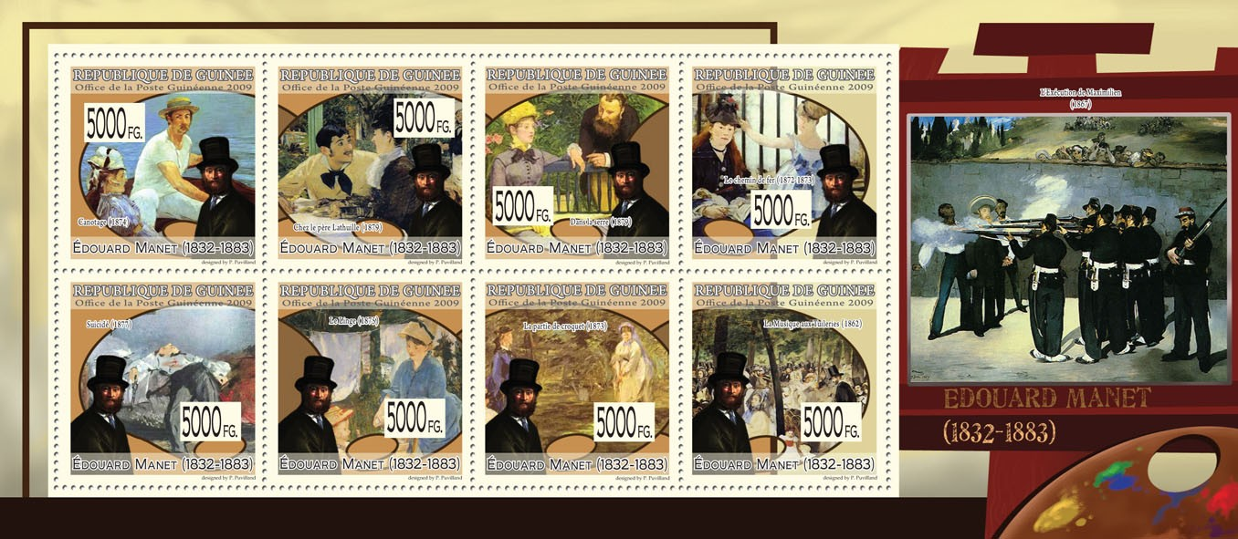 Paintings of Eduard Manet ( 1832  1883 ) - Issue of Guinée postage stamps