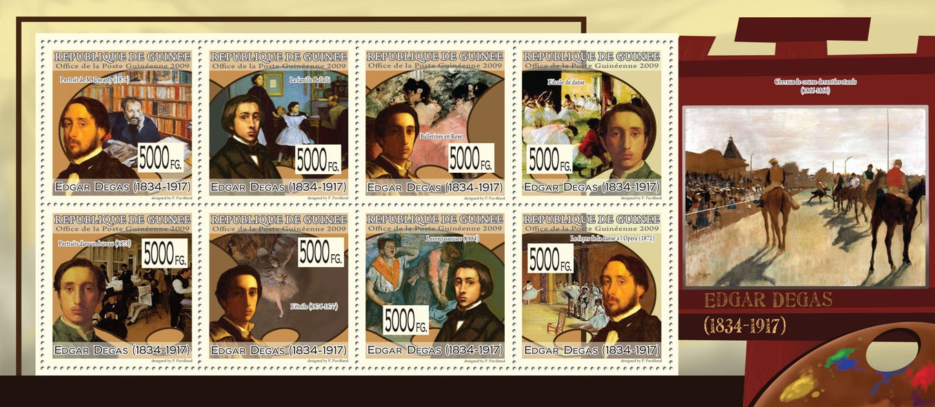 Paintings of Edgar Degas ( 1834  1917 ) - Issue of Guinée postage stamps