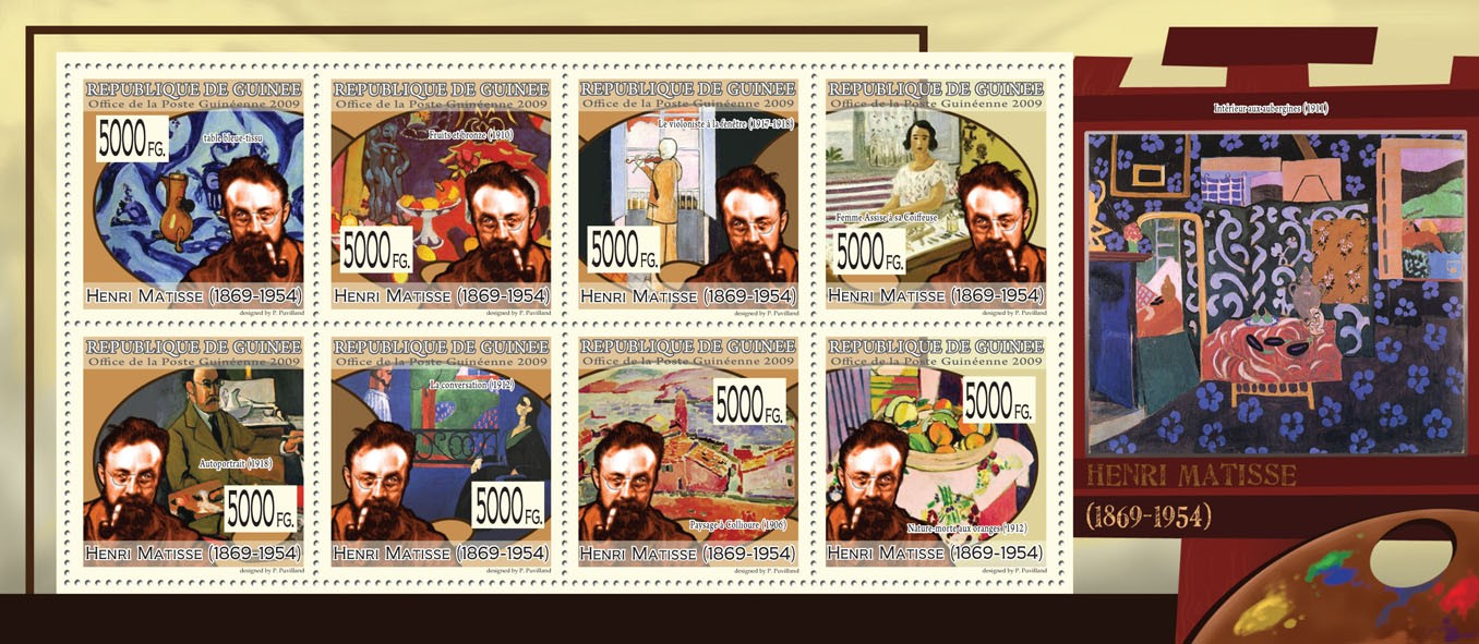 Paintings of Henri Matisse (1869  1954) - Issue of Guinée postage stamps