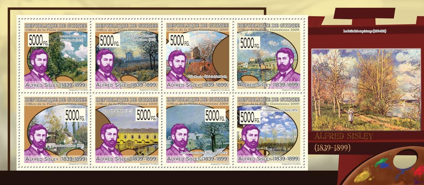 Paintings of Alfred Sisley (1839  1899) - Issue of Guinée postage stamps