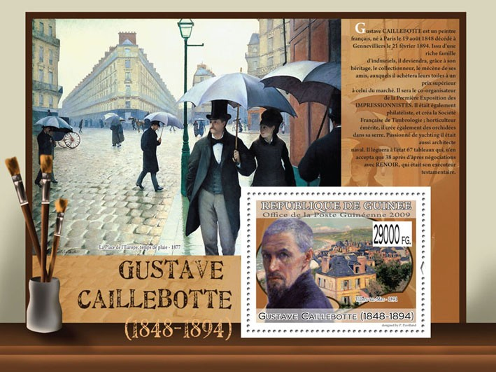 Paintings of Gustave Caillebotte (1848 - 1894) - Issue of Guinée postage stamps