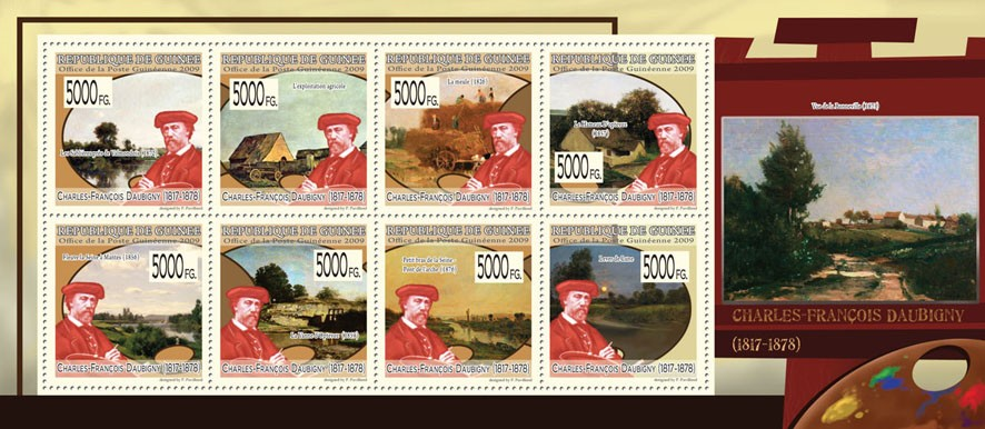 Paintings of Charles-Francois Daubigny  (1817-1878) - Issue of Guinée postage stamps