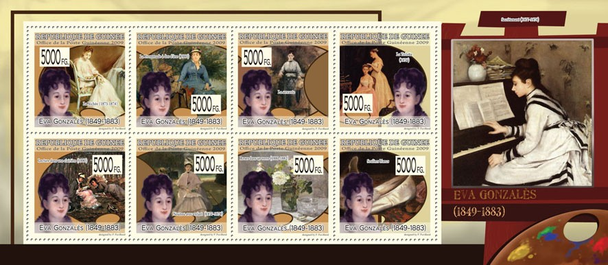 Paintings of  Eva Gonzales (1849  1833) - Issue of Guinée postage stamps