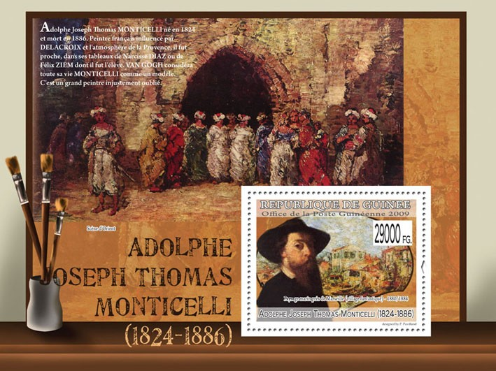 Paintings of Adolphe Joseph Thomas Monticelli (1824 - 1886) - Issue of Guinée postage stamps
