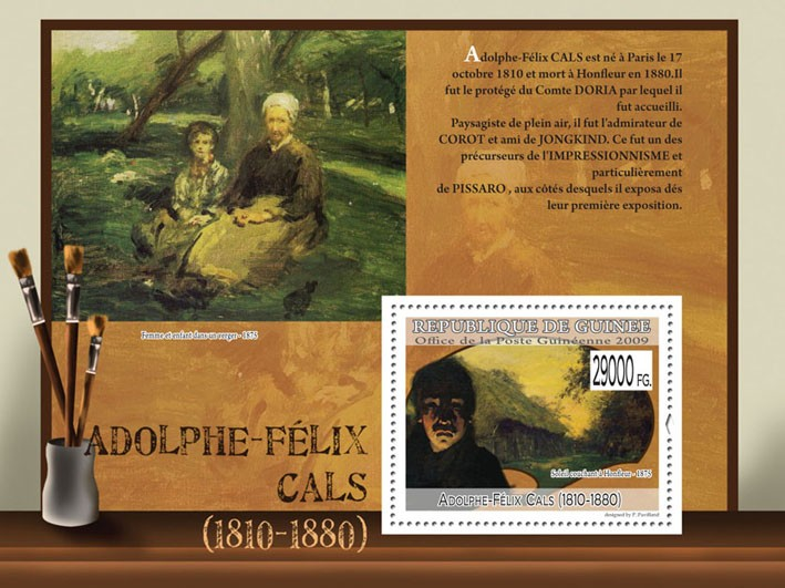 Paintings of Adolphe-Felix Cals (1810 - 1880) - Issue of Guinée postage stamps