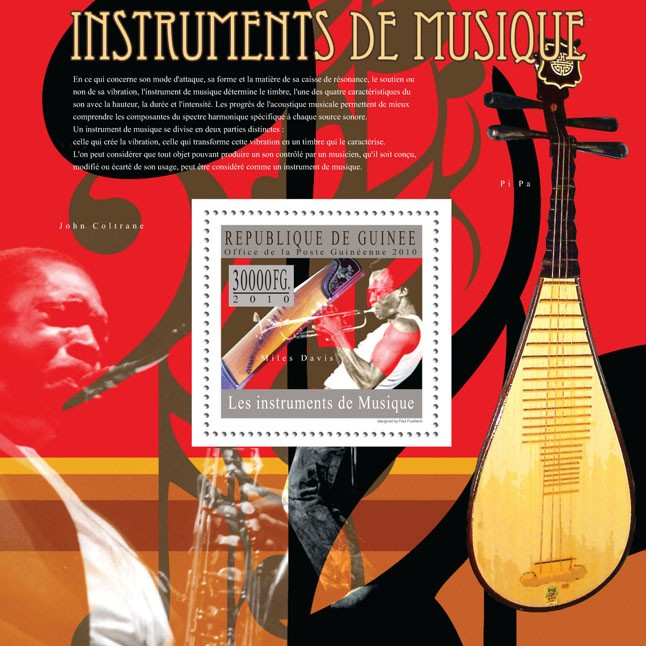 David Miles & Trumpet - Issue of Guinée postage stamps