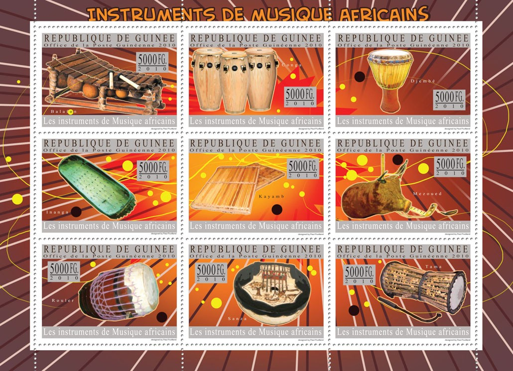 Musical Instruments of Africa ( Balafon, Djembe, Tama, etc. ) - Issue of Guinée postage stamps