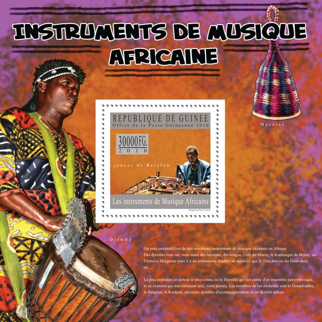 Balafon ( Djembe, Macaras ) - Issue of Guinée postage stamps