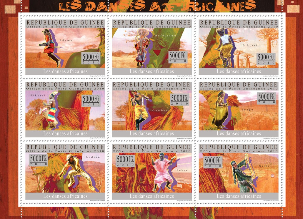Dances of Africa ( Adumu, Jongo, Saidi, etc. ) - Issue of Guinée postage stamps