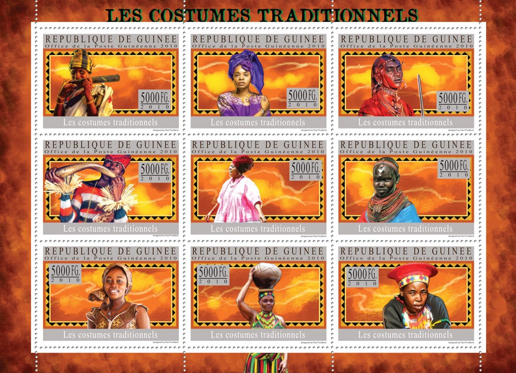 Traditional Costumes - Issue of Guinée postage stamps