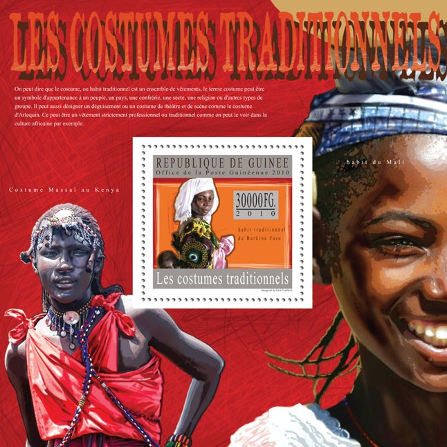 Traditional Costumes ( Burkina Faso, Kenya, Mali ) - Issue of Guinée postage stamps