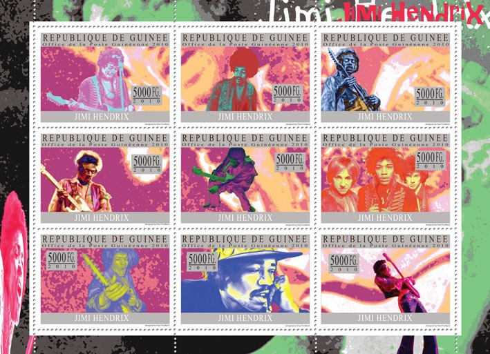 Jimi Hendrix - Issue of Guinée postage stamps