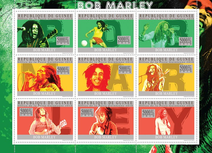 Bob Marley - Issue of Guinée postage stamps