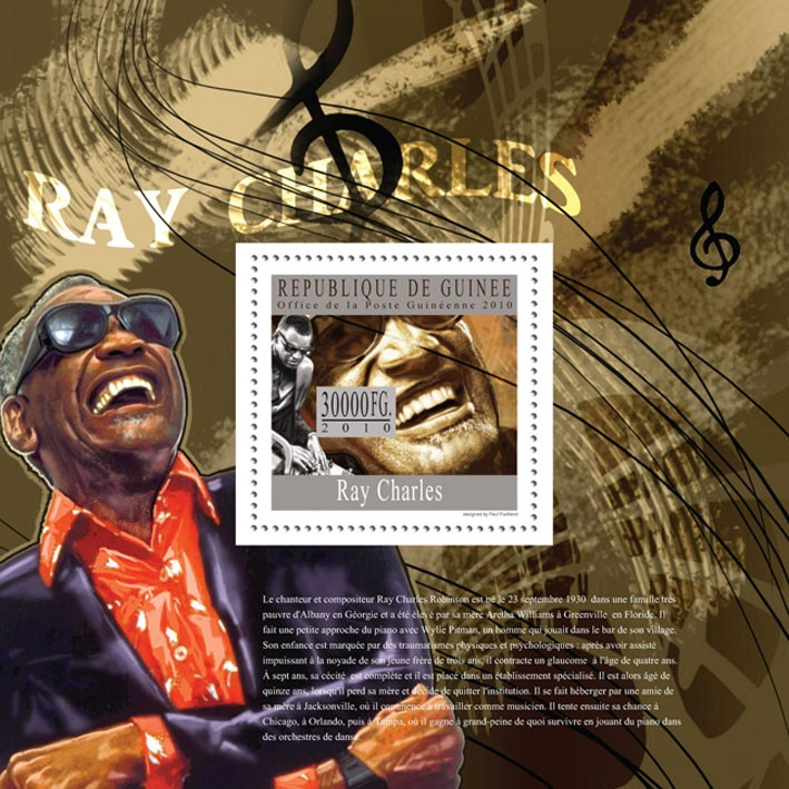 Ray Charles - Issue of Guinée postage stamps