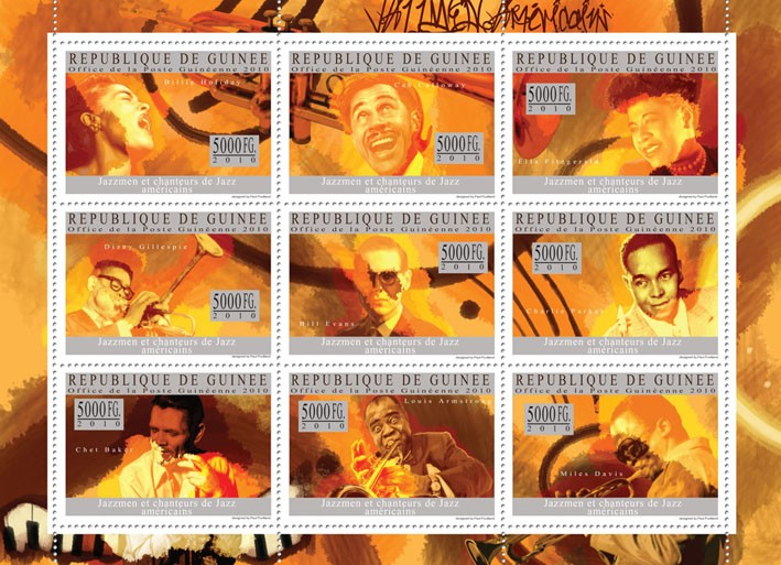 Jazz & American Jazz Singers, ( Billy Holiday - Issue of Guinée postage stamps