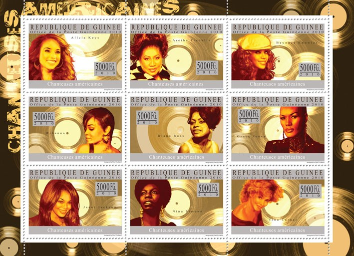 American Singers,  ( Alicia Keys - Issue of Guinée postage stamps